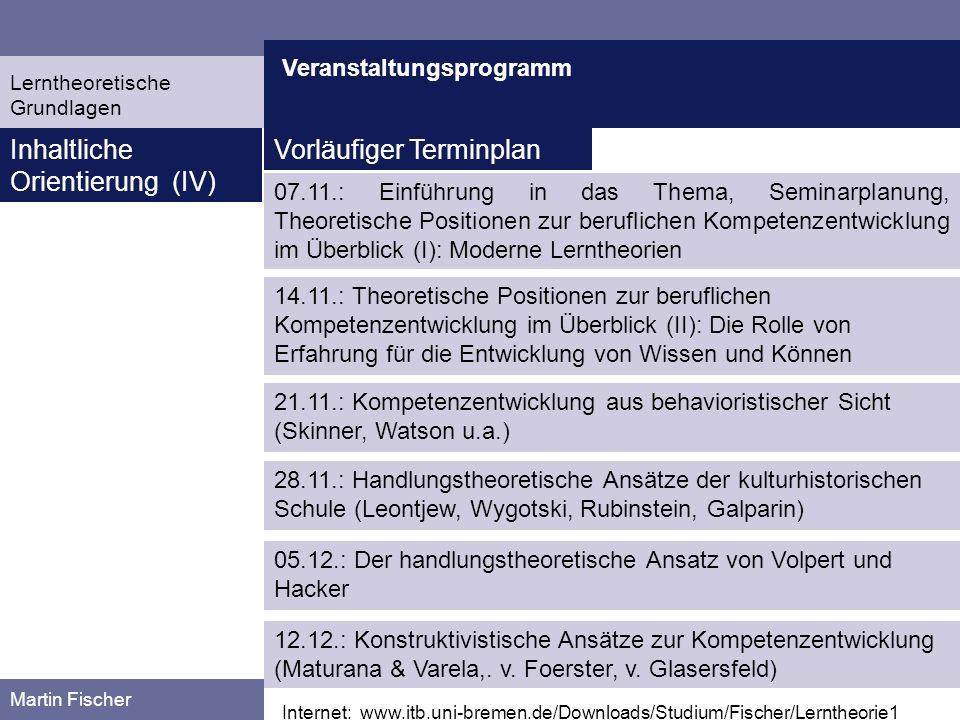 Veranstaltungsprogramm Martin Fischer Internet: www.itb.uni-bremen.de/Downloads/Studium/Fischer/Lerntheorie1 Inhaltliche Orientierung (IV) 07.11.: Ein