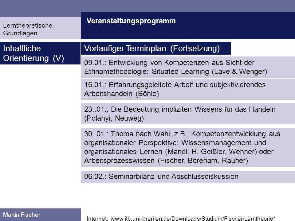 Veranstaltungsprogramm Martin Fischer Internet: www.itb.uni-bremen.de/Downloads/Studium/Fischer/Lerntheorie1 Inhaltliche Orientierung (V) Vorläufiger