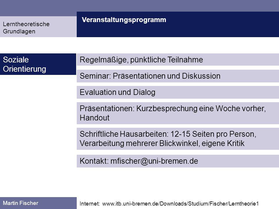 Veranstaltungsprogramm Martin Fischer Internet: www.itb.uni-bremen.de/Downloads/Studium/Fischer/Lerntheorie1 Soziale Orientierung Evaluation und Dialo