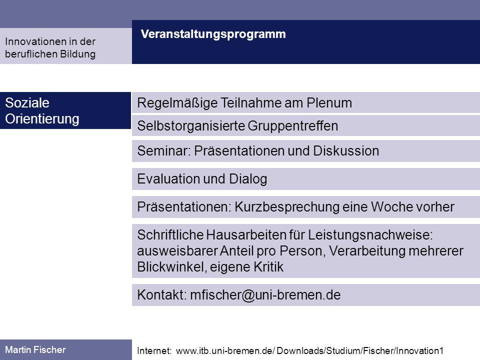 Veranstaltungsprogramm Martin Fischer Internet: www.itb.uni-bremen.de/ Downloads/Studium/Fischer/Innovation1 Soziale Orientierung Evaluation und Dialo