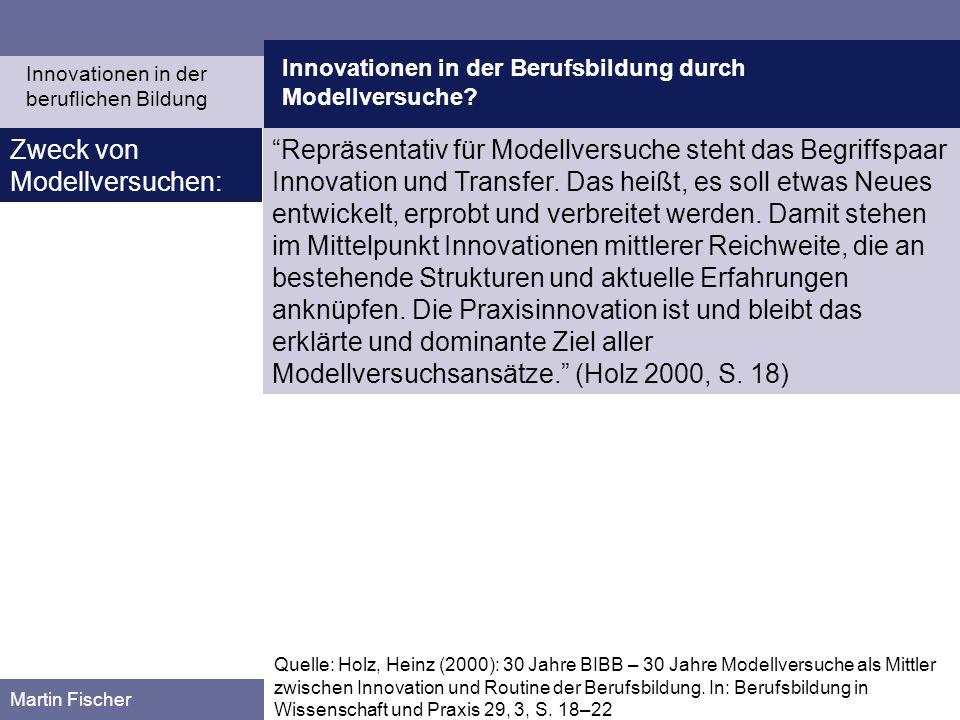 Innovationen in der Berufsbildung durch Modellversuche? Martin Fischer Quelle: Holz, Heinz (2000): 30 Jahre BIBB – 30 Jahre Modellversuche als Mittler