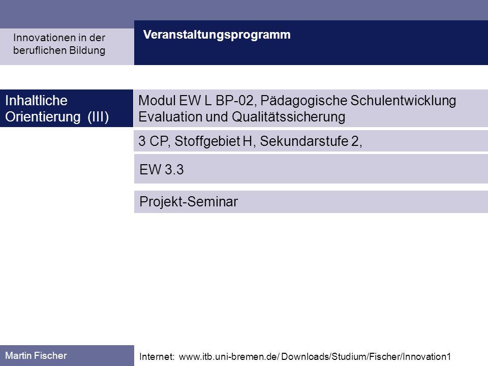 Veranstaltungsprogramm Martin Fischer Internet: www.itb.uni-bremen.de/ Downloads/Studium/Fischer/Innovation1 Inhaltliche Orientierung (III) Innovation