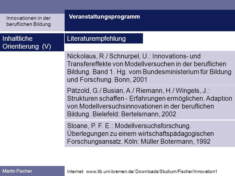Veranstaltungsprogramm Martin Fischer Internet: www.itb.uni-bremen.de/ Downloads/Studium/Fischer/Innovation1 Inhaltliche Orientierung (V) Literaturemp