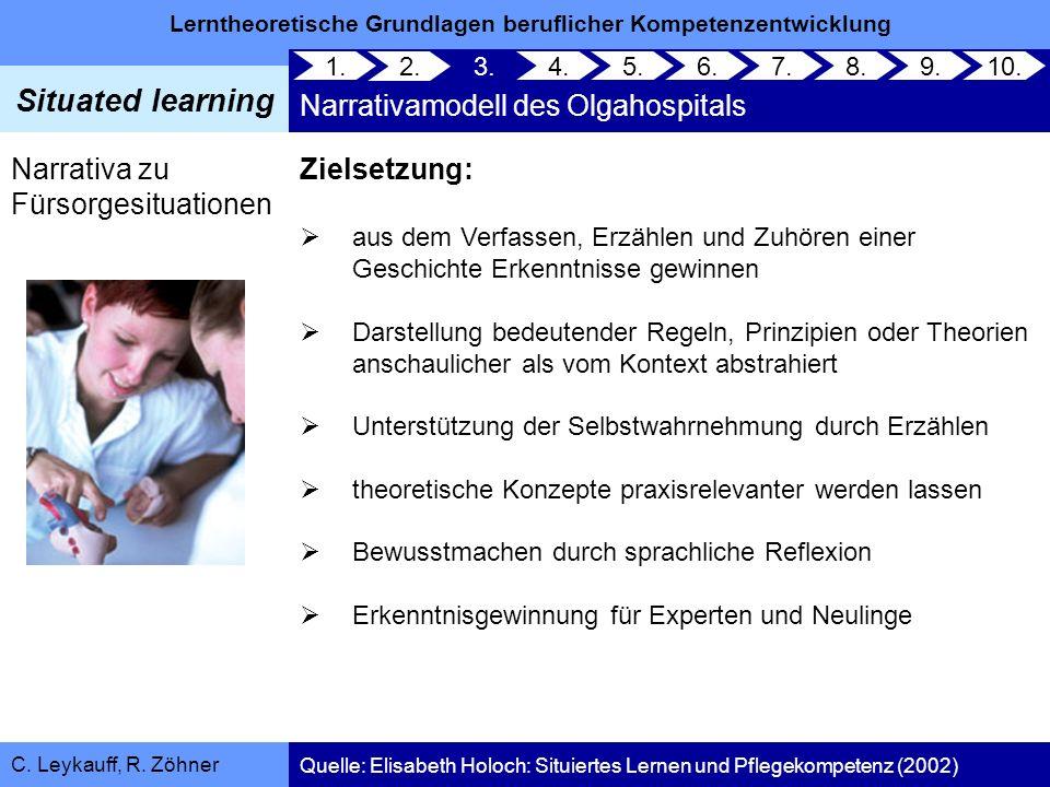 Lerntheoretische Grundlagen beruflicher Kompetenzentwicklung Situated learning C. Leykauff, R. Zöhner 1. 2. 3. Narrativamodell des Olgahospitals 4.5.6