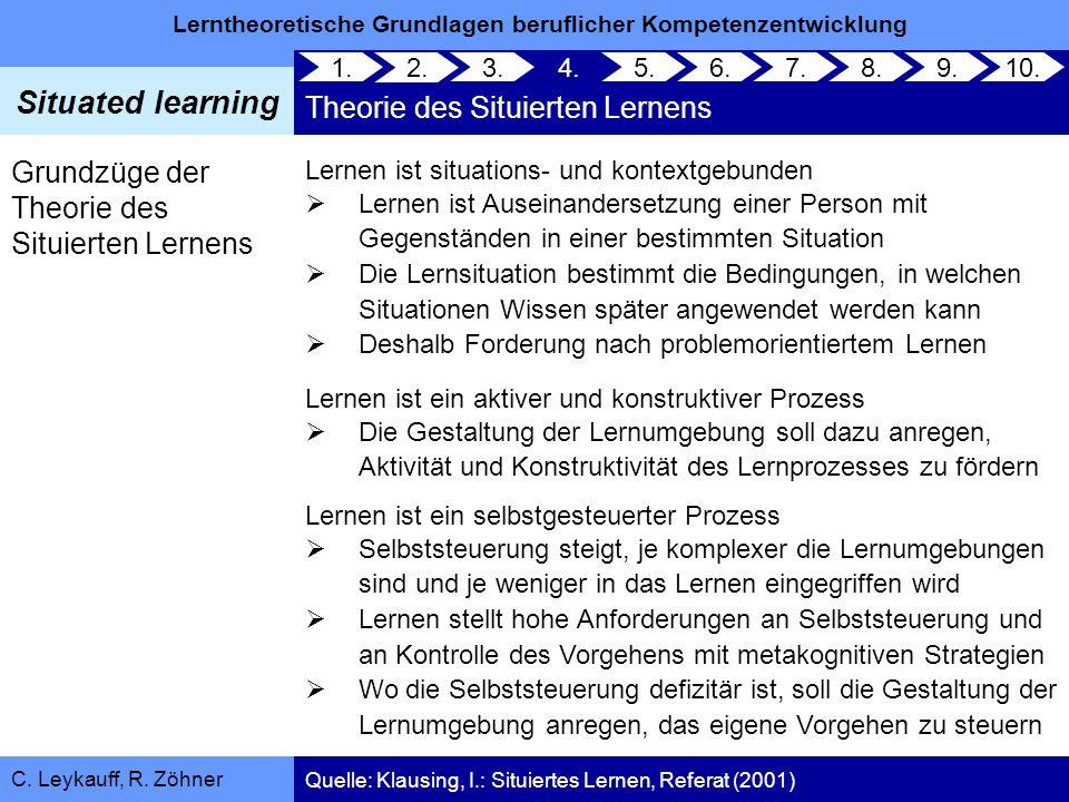Lerntheoretische Grundlagen beruflicher Kompetenzentwicklung Situated learning C. Leykauff, R. Zöhner 1. 2. 3.4. Theorie des Situierten Lernens 5.6.7.