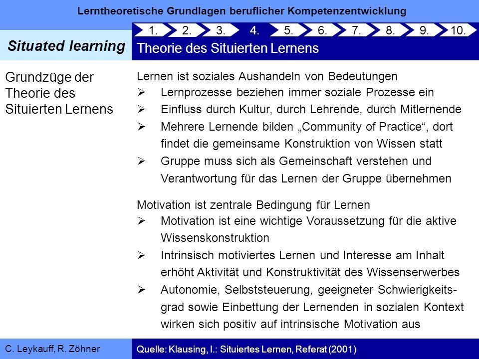 Lerntheoretische Grundlagen beruflicher Kompetenzentwicklung Situated learning C. Leykauff, R. Zöhner Grundzüge der Theorie des Situierten Lernens Ler