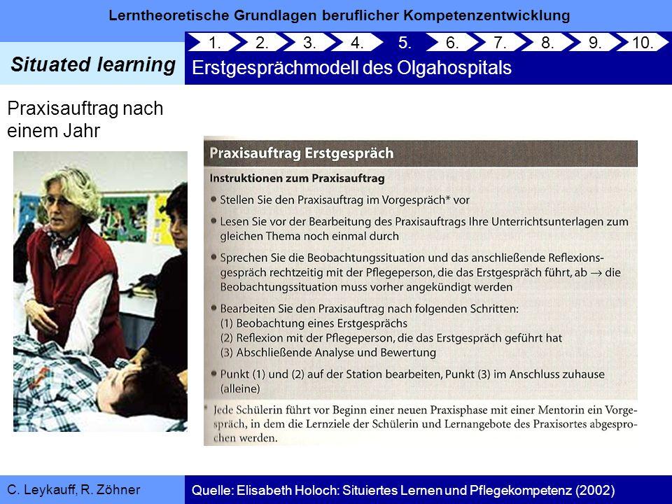 Lerntheoretische Grundlagen beruflicher Kompetenzentwicklung Situated learning C. Leykauff, R. Zöhner Praxisauftrag nach einem Jahr 1. 2. 3.4.5. Erstg