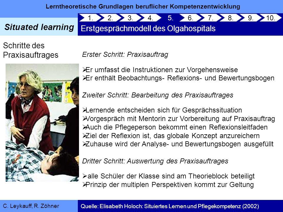 Lerntheoretische Grundlagen beruflicher Kompetenzentwicklung Situated learning C. Leykauff, R. Zöhner Schritte des Praxisauftrages Erster Schritt: Pra
