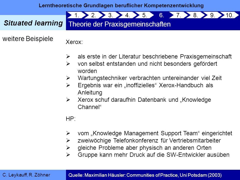 Lerntheoretische Grundlagen beruflicher Kompetenzentwicklung Situated learning C. Leykauff, R. Zöhner weitere Beispiele Xerox: als erste in der Litera