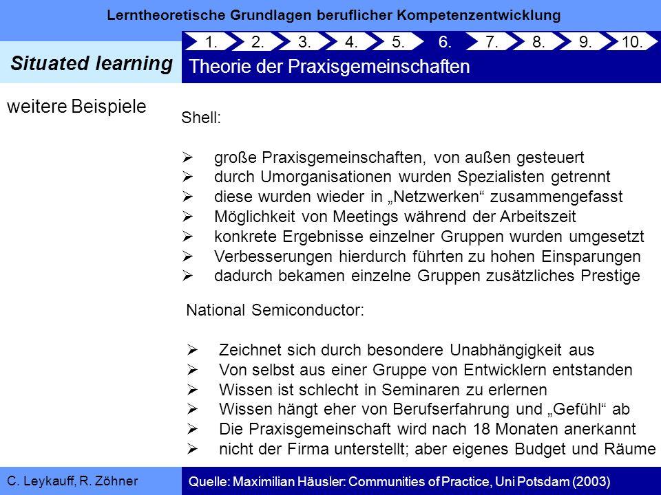 Lerntheoretische Grundlagen beruflicher Kompetenzentwicklung Situated learning C. Leykauff, R. Zöhner weitere Beispiele Shell: große Praxisgemeinschaf