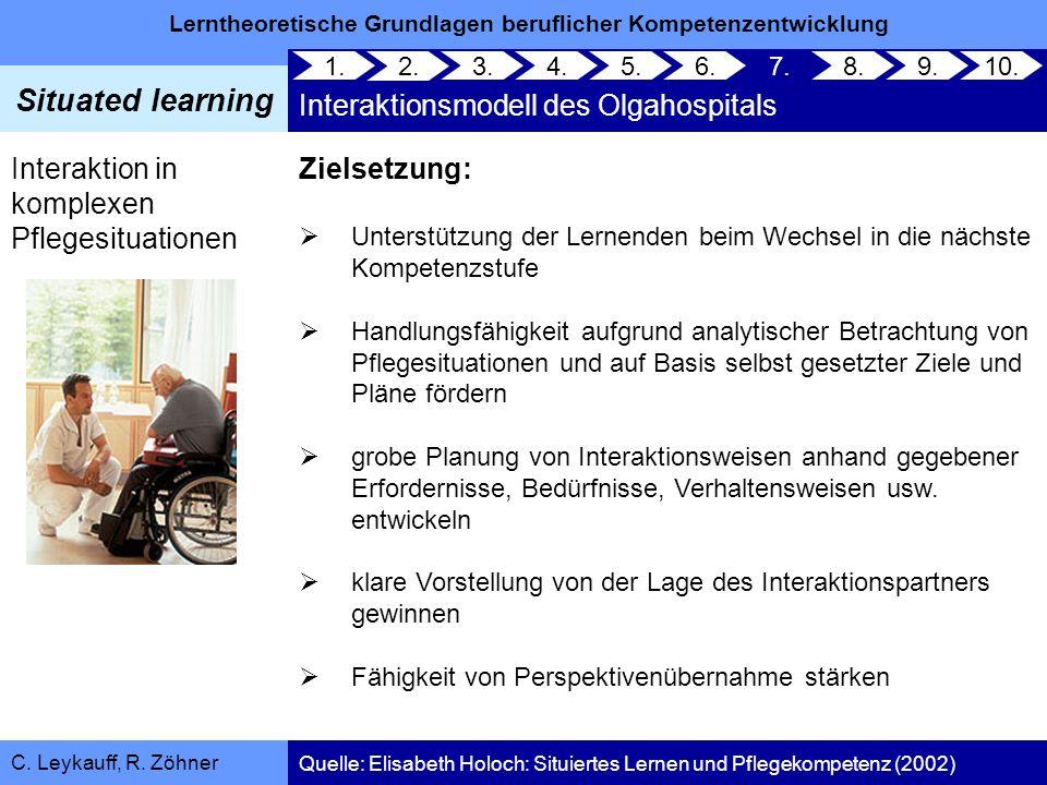 Lerntheoretische Grundlagen beruflicher Kompetenzentwicklung Situated learning C. Leykauff, R. Zöhner Interaktion in komplexen Pflegesituationen 1. 2.