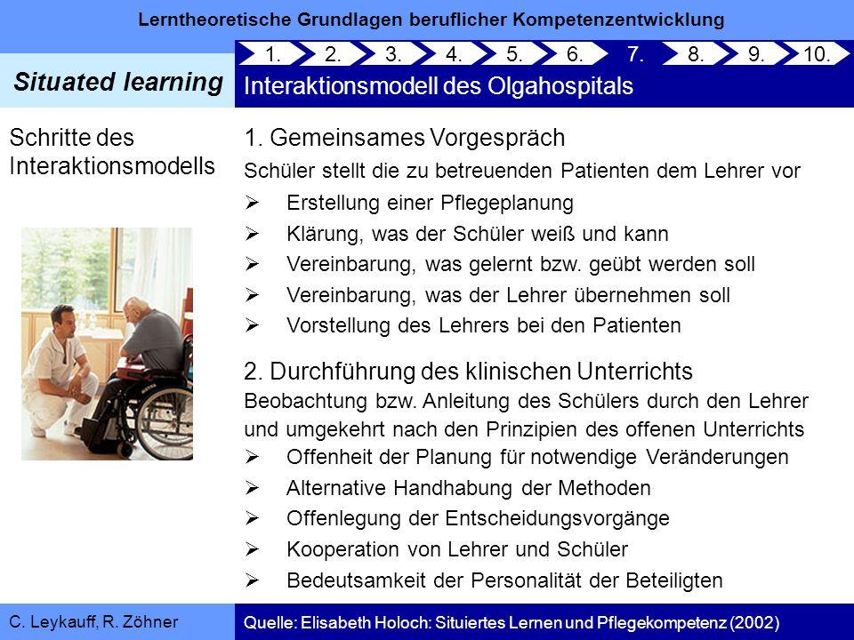 Lerntheoretische Grundlagen beruflicher Kompetenzentwicklung Situated learning C. Leykauff, R. Zöhner 1. Gemeinsames Vorgespräch Schüler stellt die zu