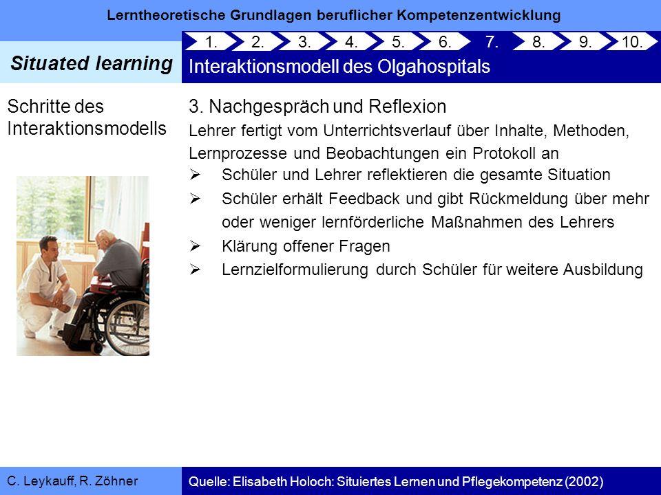 Lerntheoretische Grundlagen beruflicher Kompetenzentwicklung Situated learning C. Leykauff, R. Zöhner 3. Nachgespräch und Reflexion Lehrer fertigt vom