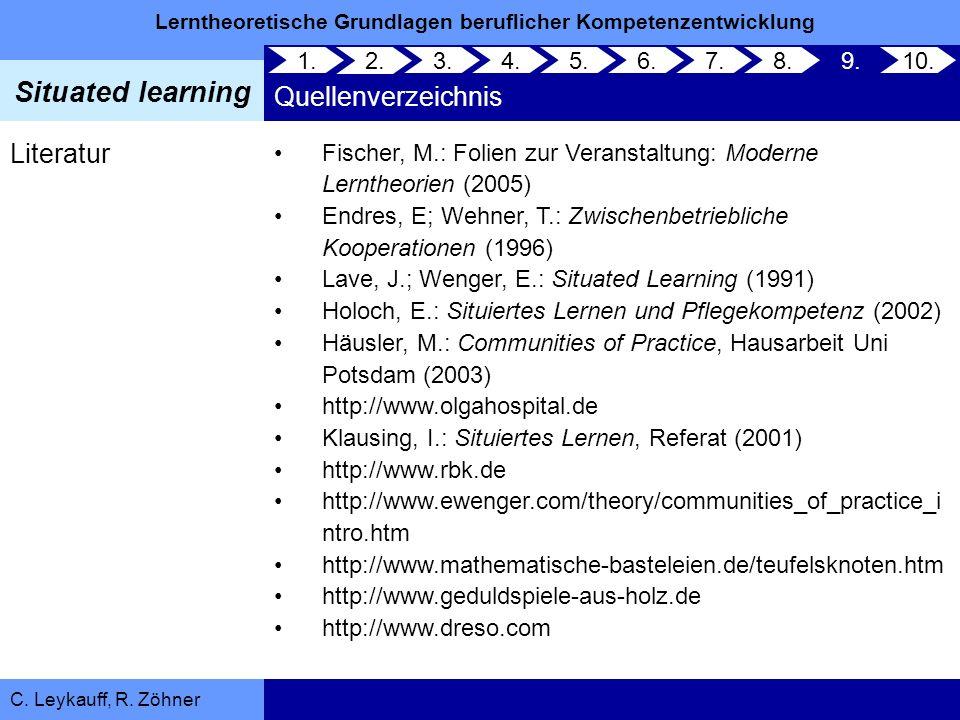 Lerntheoretische Grundlagen beruflicher Kompetenzentwicklung Situated learning C. Leykauff, R. Zöhner 1. 2. 3.4.5.6.7.8.9.10. Quellenverzeichnis Liter