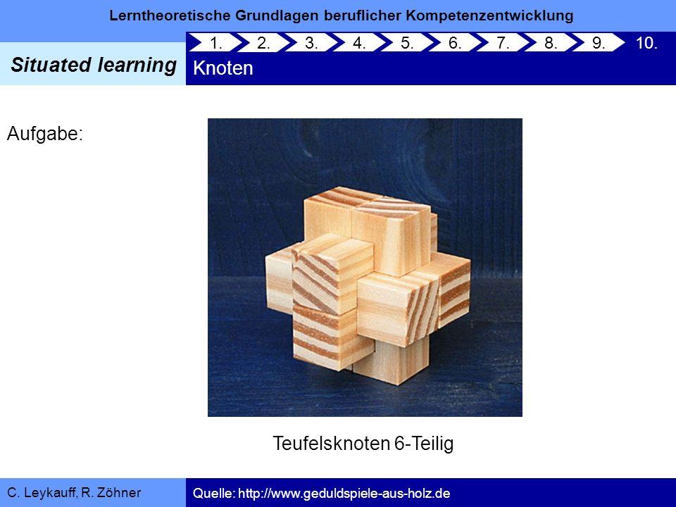 Lerntheoretische Grundlagen beruflicher Kompetenzentwicklung Situated learning C. Leykauff, R. Zöhner Knoten 1. 2. 3.4.5.6.7.8.9.10. Quelle: http://ww