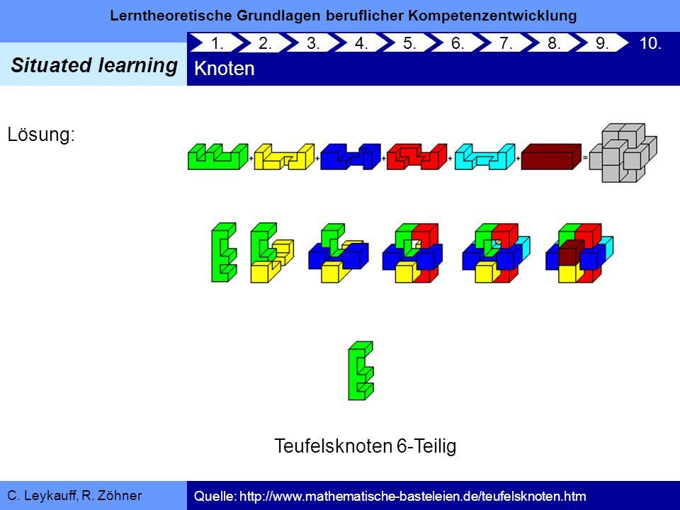 Lerntheoretische Grundlagen beruflicher Kompetenzentwicklung Situated learning C. Leykauff, R. Zöhner Lösung: Teufelsknoten 6-Teilig Knoten 1. 2. 3.4.