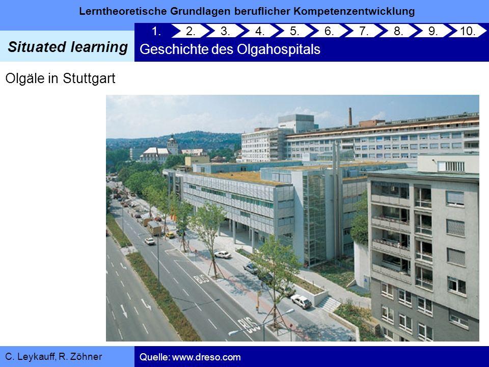 Lerntheoretische Grundlagen beruflicher Kompetenzentwicklung Situated learning C. Leykauff, R. Zöhner Olgäle in Stuttgart 1. Geschichte des Olgahospit