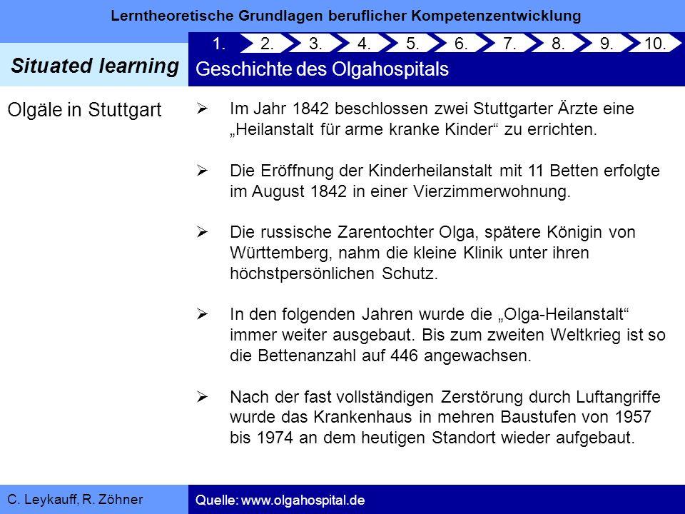 Lerntheoretische Grundlagen beruflicher Kompetenzentwicklung Situated learning C. Leykauff, R. Zöhner Olgäle in Stuttgart Im Jahr 1842 beschlossen zwe