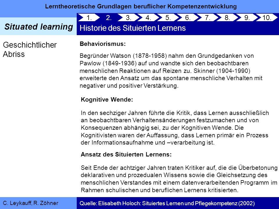 Lerntheoretische Grundlagen beruflicher Kompetenzentwicklung Situated learning C. Leykauff, R. Zöhner 1. 2. Historie des Situierten Lernens 3.4.5.6.7.