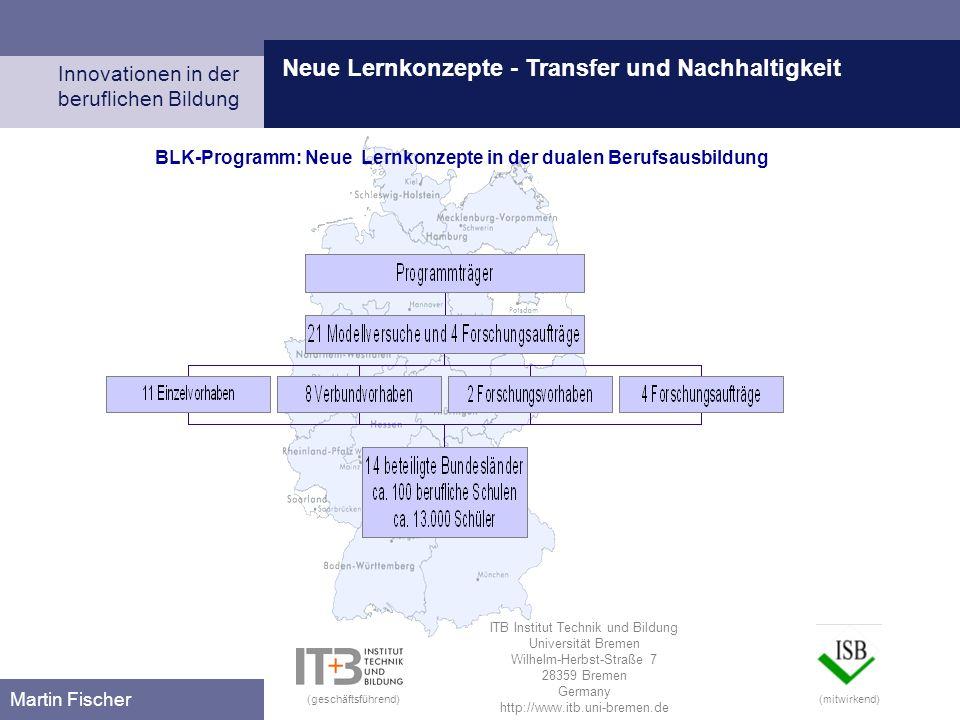 Neue Lernkonzepte - Transfer und Nachhaltigkeit Innovationen in der beruflichen Bildung Martin Fischer BLK-Programm: Neue Lernkonzepte in der dualen B