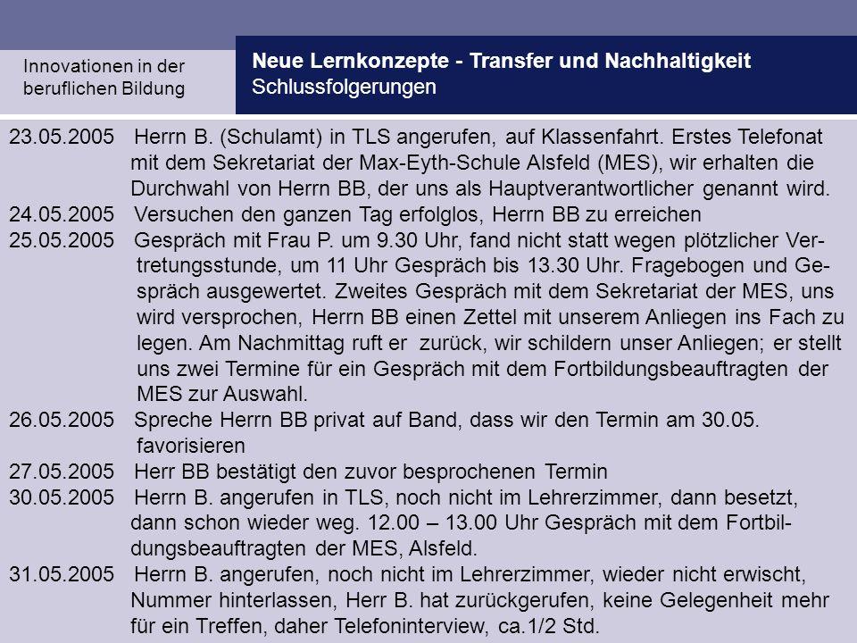 Neue Lernkonzepte - Transfer und Nachhaltigkeit Schlussfolgerungen Innovationen in der beruflichen Bildung 23.05.2005 Herrn B. (Schulamt) in TLS anger