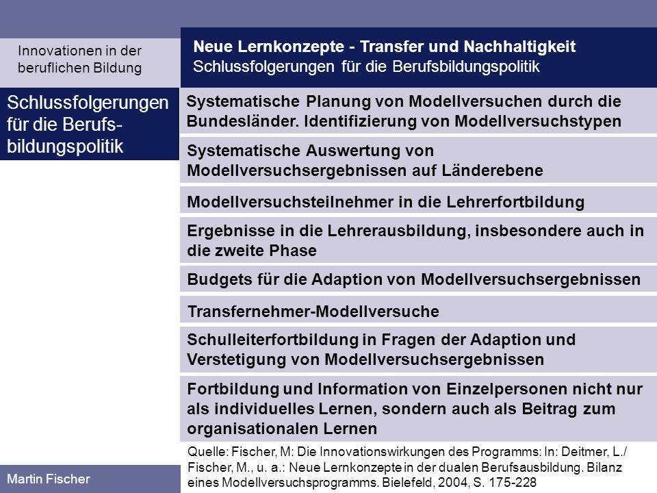 Neue Lernkonzepte - Transfer und Nachhaltigkeit Schlussfolgerungen für die Berufsbildungspolitik Martin Fischer Schlussfolgerungen für die Berufs- bil