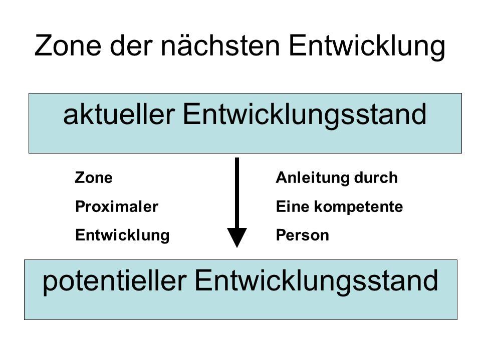 Zone der nächsten Entwicklung potentieller Entwicklungsstand aktueller Entwicklungsstand Zone Proximaler Entwicklung Anleitung durch Eine kompetente P
