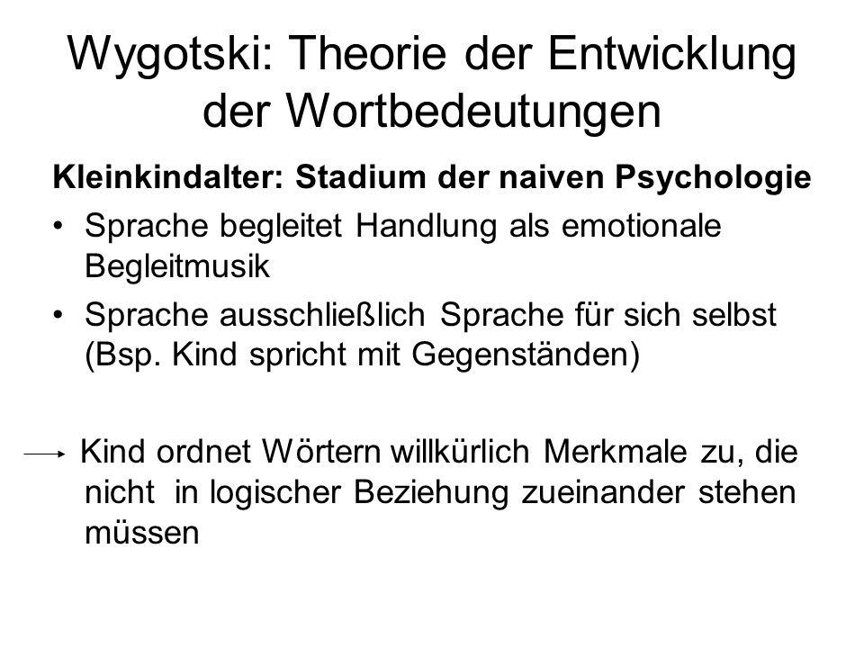 Wygotski: Theorie der Entwicklung der Wortbedeutungen Kleinkindalter: Stadium der naiven Psychologie Sprache begleitet Handlung als emotionale Begleit