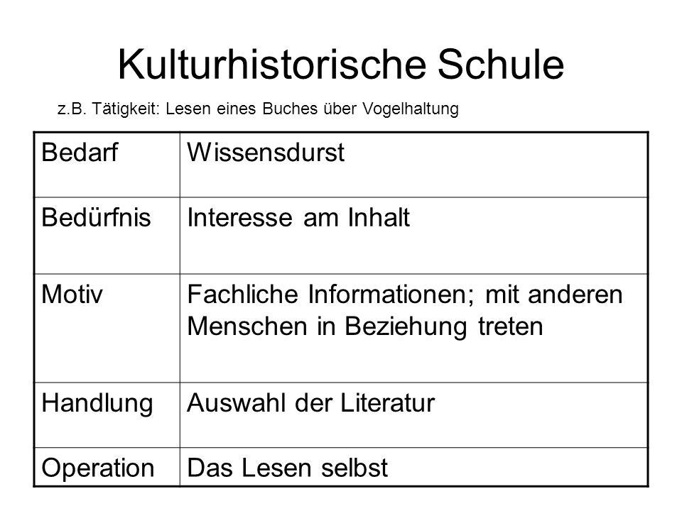 Kulturhistorische Schule z.B. Tätigkeit: Lesen eines Buches über Vogelhaltung BedarfWissensdurst BedürfnisInteresse am Inhalt MotivFachliche Informati