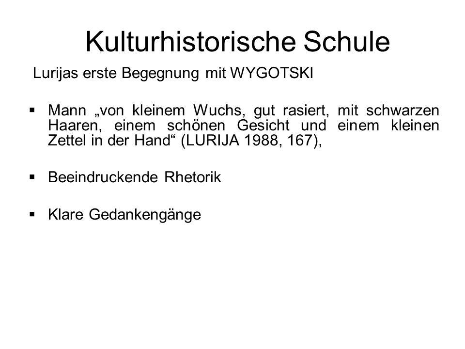 Kulturhistorische Schule WYGOTSKI Vortrag von Wygotski mit dem Titel Das Bewusstsein als Gegenstand der Psychologie Wygotski sah menschliches Verhalten als eine Aneinanderreihung von Reflexen an.