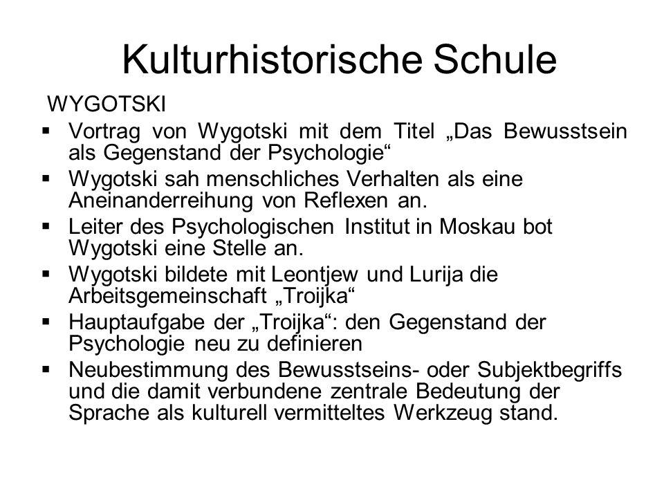 Kulturhistorische Schule WYGOTSKI Vortrag von Wygotski mit dem Titel Das Bewusstsein als Gegenstand der Psychologie Wygotski sah menschliches Verhalte