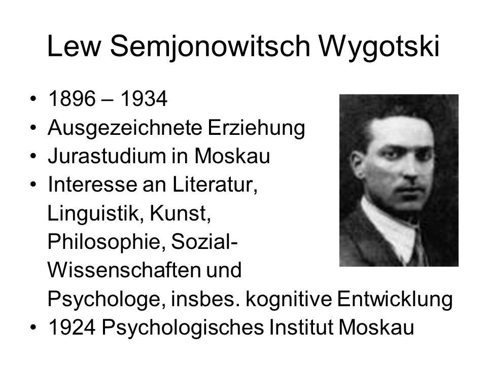 Lew Semjonowitsch Wygotski 1896 – 1934 Ausgezeichnete Erziehung Jurastudium in Moskau Interesse an Literatur, Linguistik, Kunst, Philosophie, Sozial-