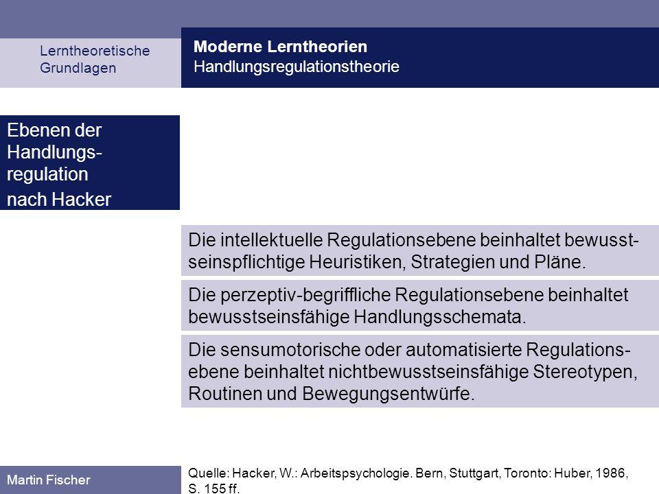 Moderne Lerntheorien Handlungsregulationstheorie Lerntheoretische Grundlagen Martin Fischer Die intellektuelle Regulationsebene beinhaltet bewusst- seinspflichtige Heuristiken, Strategien und Pläne.