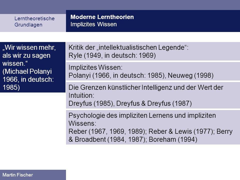 Moderne Lerntheorien Implizites Wissen Lerntheoretische Grundlagen Martin Fischer Wir wissen mehr, als wir zu sagen wissen. (Michael Polanyi 1966, in