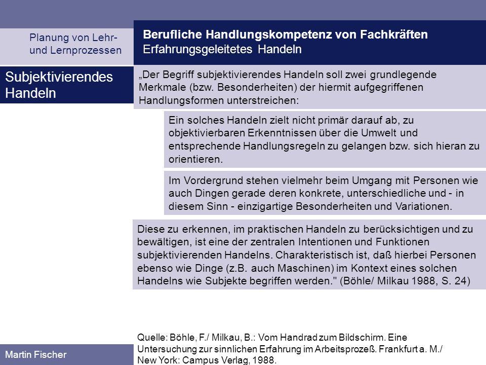 Berufliche Handlungskompetenz von Fachkräften Erfahrungsgeleitetes Handeln Planung von Lehr- und Lernprozessen Martin Fischer Quelle: Böhle, F./ Milka