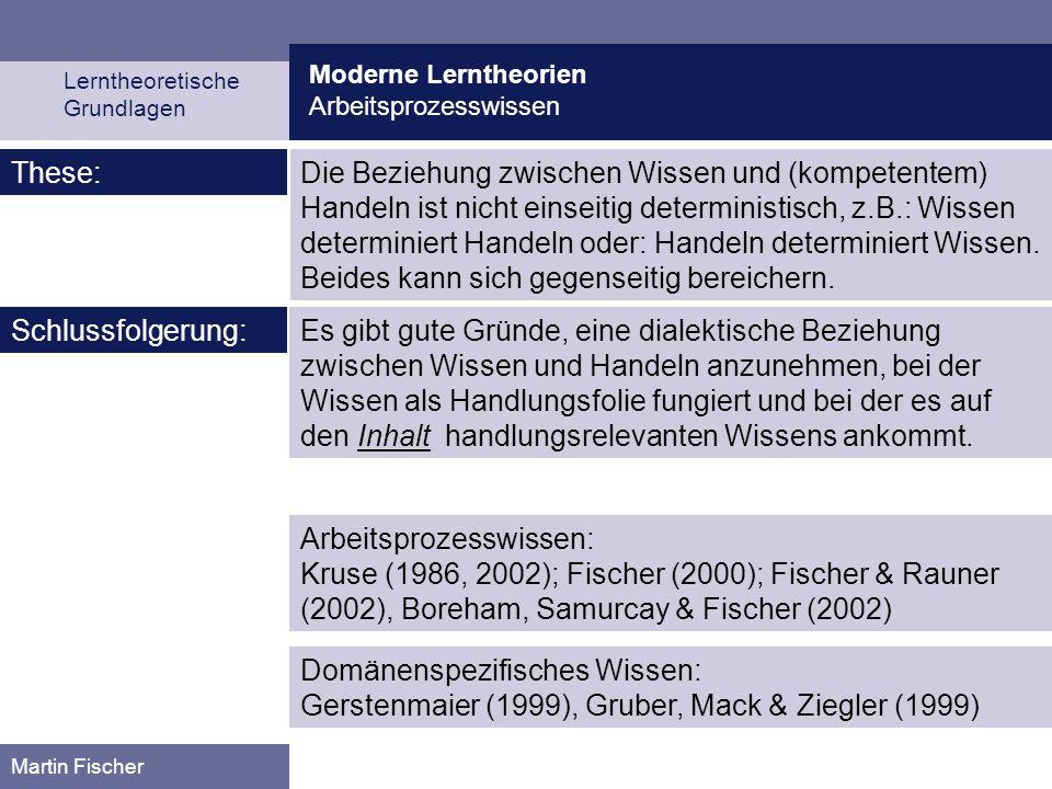 Moderne Lerntheorien Arbeitsprozesswissen Lerntheoretische Grundlagen Martin Fischer Es gibt gute Gründe, eine dialektische Beziehung zwischen Wissen