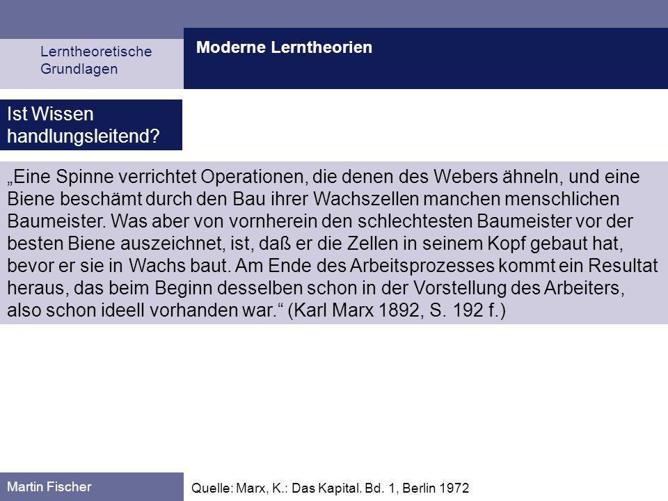 Moderne Lerntheorien Lerntheoretische Grundlagen Martin Fischer Quelle: Marx, K.: Das Kapital. Bd. 1, Berlin 1972 Eine Spinne verrichtet Operationen,