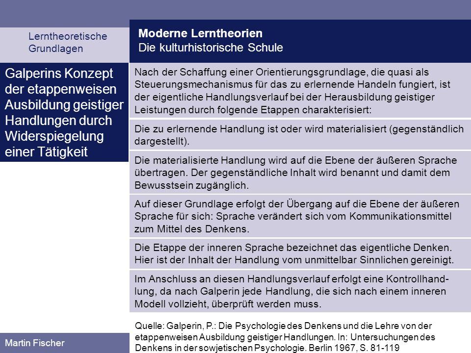 Moderne Lerntheorien Die kulturhistorische Schule Lerntheoretische Grundlagen Martin Fischer Nach der Schaffung einer Orientierungsgrundlage, die quas