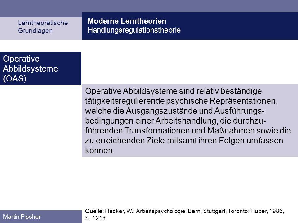 Moderne Lerntheorien Handlungsregulationstheorie Lerntheoretische Grundlagen Martin Fischer Operative Abbildsysteme sind relativ beständige tätigkeits