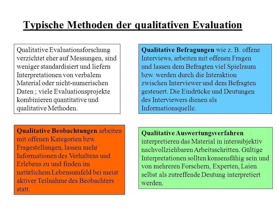 Typische Methoden der qualitativen Evaluation Qualitative Evaluationsforschung verzichtet eher auf Messungen, sind weniger standardisiert und liefern