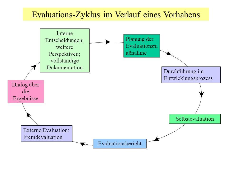 Evaluations-Zyklus im Verlauf eines Vorhabens Planung der Evaluationsm aßnahme Durchführung im Entwicklungsprozess Externe Evaluation: Fremdevaluation