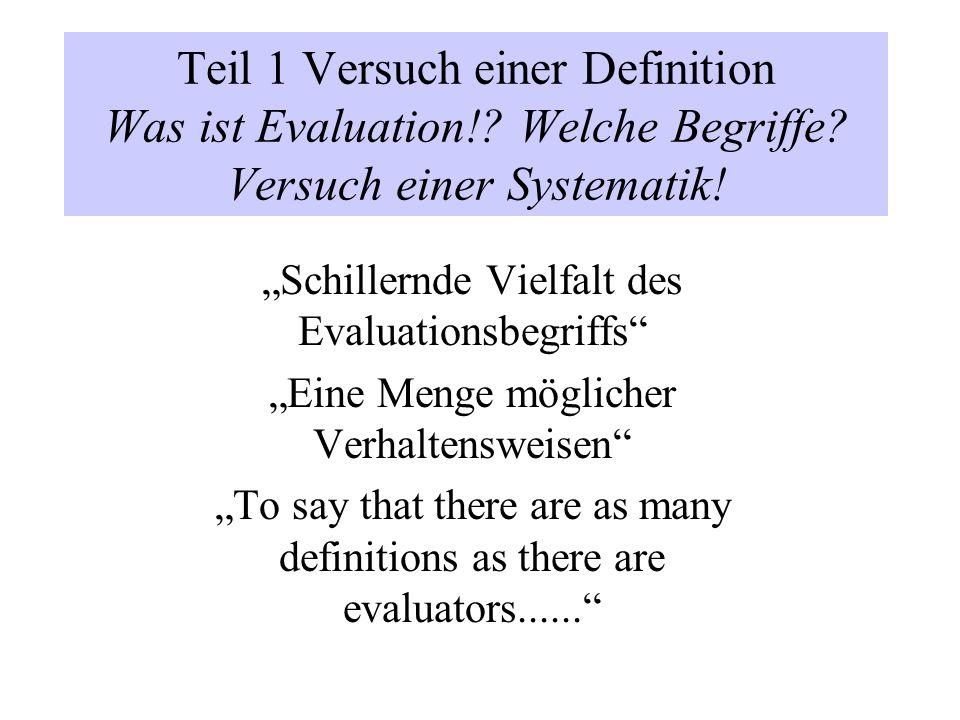 Teil 1 Versuch einer Definition Was ist Evaluation!? Welche Begriffe? Versuch einer Systematik! Schillernde Vielfalt des Evaluationsbegriffs Eine Meng