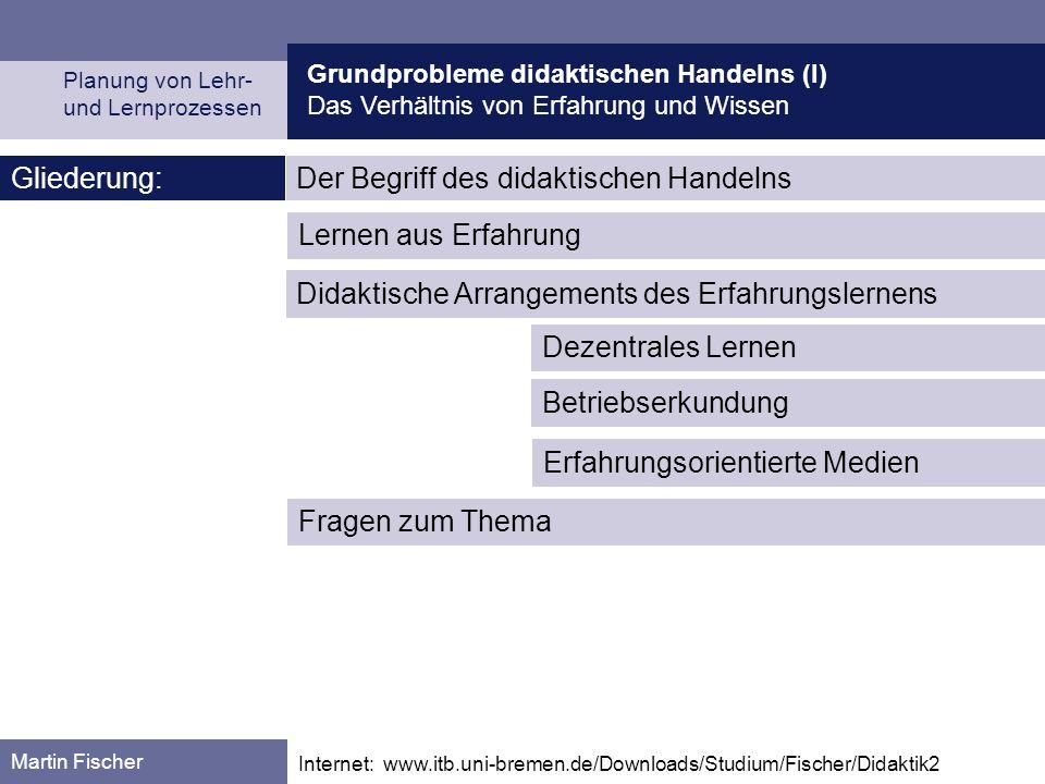 Grundprobleme didaktischen Handelns (I) Das Verhältnis von Erfahrung und Wissen Planung von Lehr- und Lernprozessen Martin Fischer Internet: www.itb.u