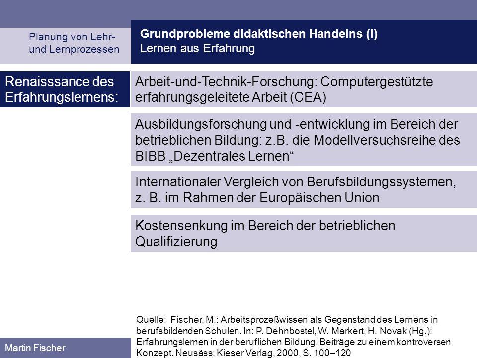 Grundprobleme didaktischen Handelns (I) Lernen aus Erfahrung Planung von Lehr- und Lernprozessen Martin Fischer Quelle: Fischer, M.: Arbeitsprozeßwiss