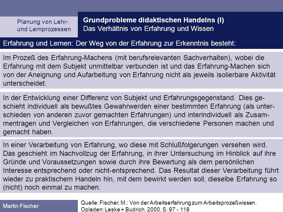 Grundprobleme didaktischen Handelns (I) Das Verhältnis von Erfahrung und Wissen Planung von Lehr- und Lernprozessen Martin Fischer Quelle: Fischer, M.