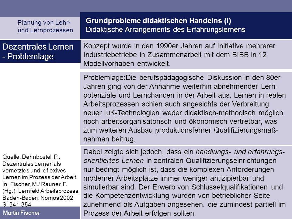 Grundprobleme didaktischen Handelns (I) Didaktische Arrangements des Erfahrungslernens Planung von Lehr- und Lernprozessen Martin Fischer Konzept wurd