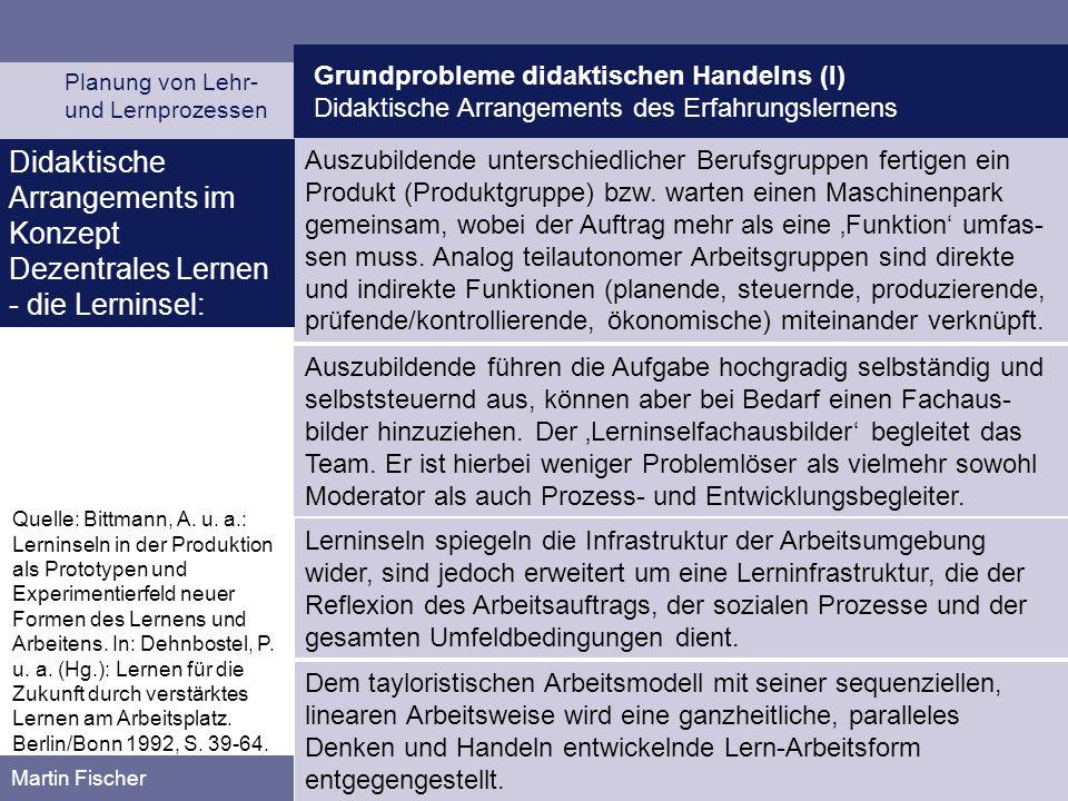 Grundprobleme didaktischen Handelns (I) Didaktische Arrangements des Erfahrungslernens Planung von Lehr- und Lernprozessen Martin Fischer Auszubildend