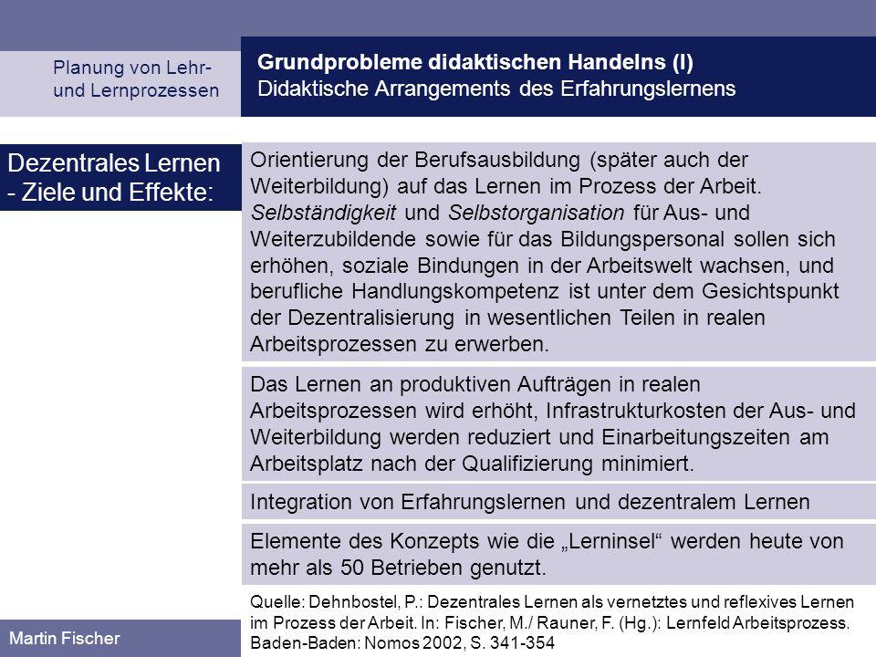 Grundprobleme didaktischen Handelns (I) Didaktische Arrangements des Erfahrungslernens Planung von Lehr- und Lernprozessen Martin Fischer Dezentrales