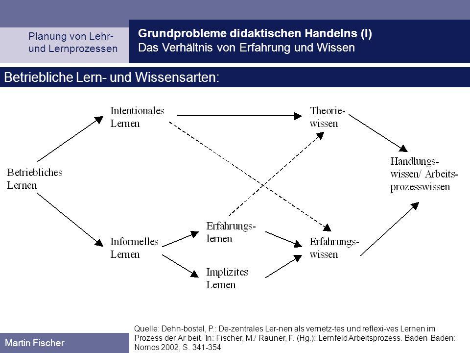 Grundprobleme didaktischen Handelns (I) Das Verhältnis von Erfahrung und Wissen Planung von Lehr- und Lernprozessen Martin Fischer Betriebliche Lern-