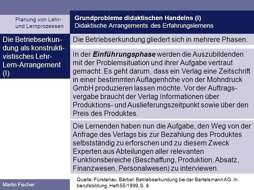 Grundprobleme didaktischen Handelns (I) Didaktische Arrangements des Erfahrungslernens Planung von Lehr- und Lernprozessen Martin Fischer Quelle: Fürs